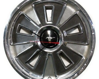 1966 Ford Mustang Hubcap Wall Clock - Retro Pony Car Hub Cap - Valentine's Gift For Him