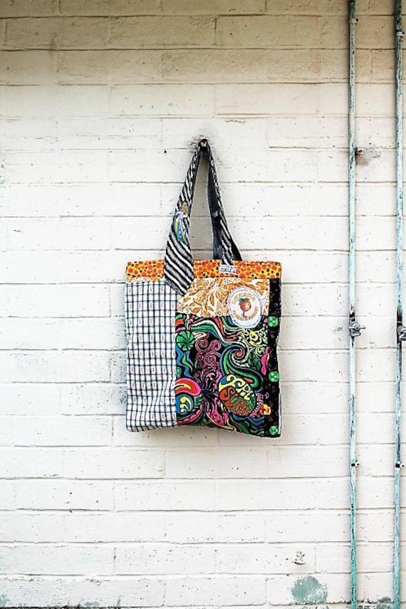Funky LeucadiaMarket Bag/Funky Garden Bag/Hobo Farmers Market Grocery Bag/Upcycled Purse/Eco Living/Garden Bag/Shop local/Veggies/No Plastic