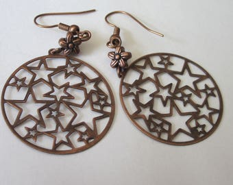 Filigree Star Earrings, Antiqued Copper, Lightweight Dangle Earrings, Round Shaped
