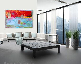 Print Giclee Art yellow blue pink gray turquoise decor modern wall art by Ana Gonzalez