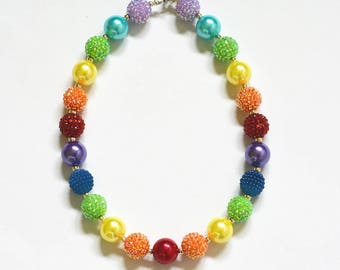 RAINBOW - Bubblegum Beaded Necklace - Toddler - Girls - Sparkle Large Beaded Necklace - Sew Bright Bling