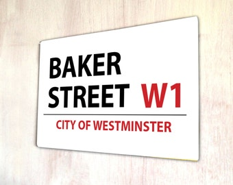 Baker street London Street sign A4 metal plaque Shabby Chic picture home deco