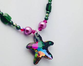 Swarovski Crystal Starfish Pendant Necklace in Greens & Pinks. One of a Kind Handcrafted Jewelry. Summer Accessorizing. Resort Wear w/ .925
