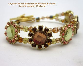 Crystal Slider Bracelet in Browns & Tans w/ Gold Plated Flower Toggle Clasp. One of a Kind, Handmade Creation. Lots of Bling. Popular style.