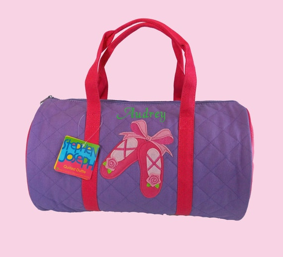 Child's Monogrammed Stephen Joseph Newest Style BALLET SLIPPERS Quilted Duffle Bag