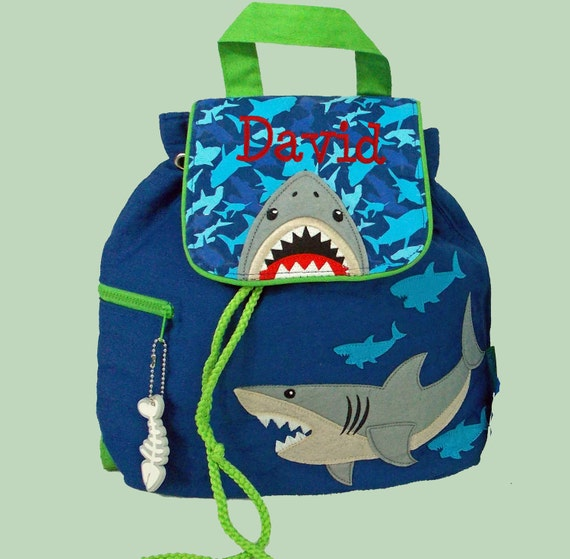 Personalized Child's Stephen Joseph SHARK Quilted Backpack-Monogram Included In Price