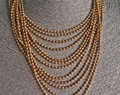 """Very Vintage 17"""" brass tone ball chain style multi-strand necklace in great condition"""