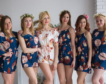 Navy Blue Mismatched Rompers By Silkandmore - A rumor among fairies pattern - Bridesmaids Gifts, Bridesmaids Rompers
