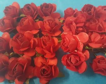 50 piece red artificial paper flower  1/2 inch