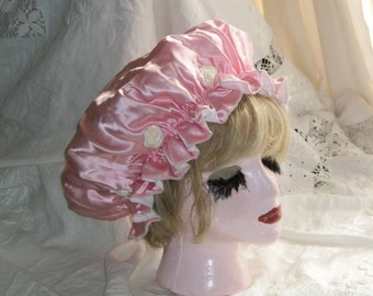 Victorian Style Vintage Pink Satin Rosette Trim Shower Cap Night Cap Sleep Cap Cute!  One Size Fits All
