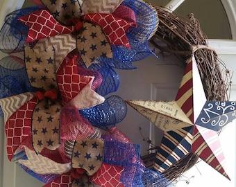 4th of July Wreath-Patriotic Wreath-Memorial Day Wreath-Summer Wreath-Patriotic Decor-4th of July-Summer Decor-Grapevine Wreath-Star Wreath