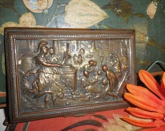 Brass Bronze Plaque  Low Relief  Sculpture  /  Classic Roman Theme /  Mount or Assemblage Potential