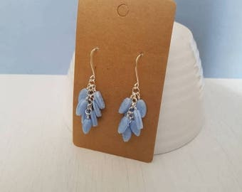 Closing sale Light blue glass leaves, wire wrapped, silver plated cluster earrings.