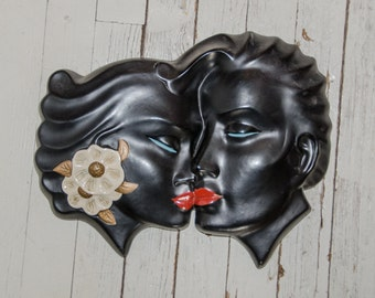 Vintage Alexander Backer Kissing Couple Wall Chalkware Plaque