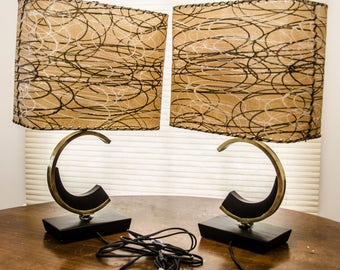 Pair of Vintage Atomic Mid Century Table Lamps Original Shades