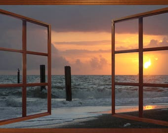 Wall mural window, self adhesive, Tybee Island sunrise window view-3 sizes available - free US shipping