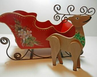 Christmas Sleigh with Reindeer Card Holder Decoration