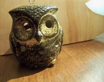 two faced owl candle light hanging lantern  nature calm