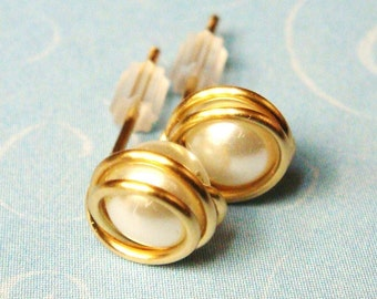 Pearl 14K Gold Filled Wire Wrap Post Earrings  Pearl Stud Earrings   Bridal Jewelry  Bridesmaid Gifts  Gold Jewelry