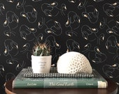 Swansy Noir Wallpaper / Removable / Asorrted Lengths/ Adheres to Walls, Refrigerators, and Shelves