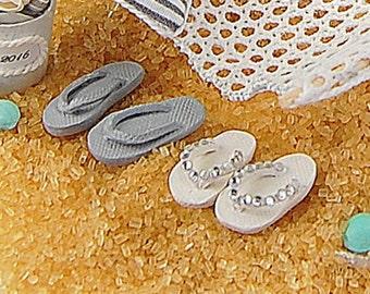 Beach Wedding Cake FLIP FLOPS Miniature Bride and Groom Set. All Handmade In Your Wedding Colors. Custom Handmade To Order. See Details!