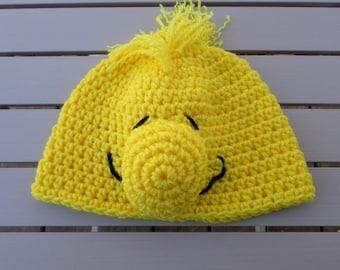 Cartoon Inspired Crochet Hat;  Crochet Hat; Character Hat; Yellow Bird Hat