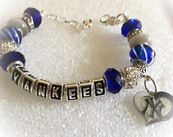 Fabulous New York Yankees Baseball inspired handmade jewelry bracelets
