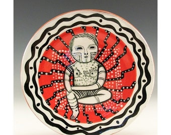 Holiday Sale Small Plate - Jenny Mendes painting on a round ceramic tapas plate