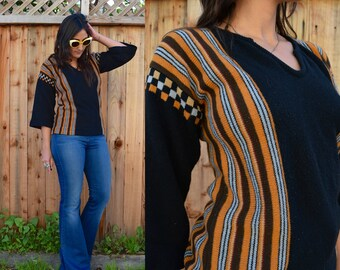 Vintage 70s STRIPED & Checkered BOHO SWEATER S