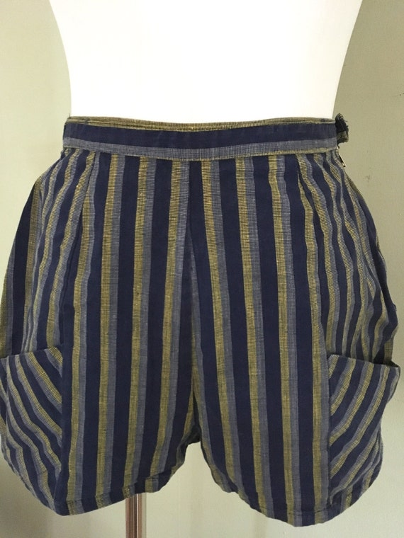 1950s High Waist Blue and Gold Stripe Cotton Twill Shorts with Unique Pocket Design-S