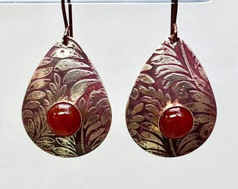 Antiqued carnelian and copper etched teardrop earrings, lightweight organic style, natural looking statement earrings, elegant cinnabar