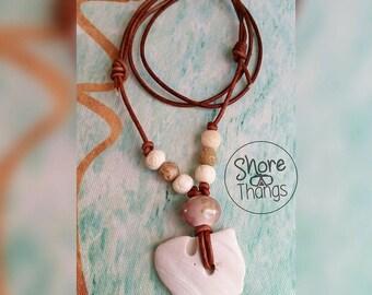 Nautical FL Sea Shell Clam Leather Necklace - Boho - SoFlo