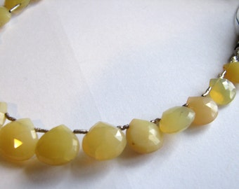 Natural Yellow Peruvian Opal, faceted teardrop briolettes, 8.5 inch full strand, 20 beads, 8-13.5mm (w74b)