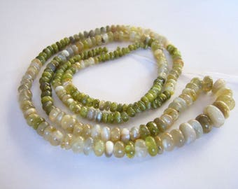 Chrysoberyl Cats Eye, smooth rondelles, full 18 inch strand, 1.9-6.75mm (w10)