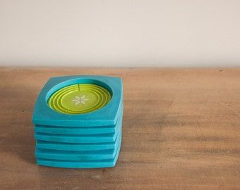 Vintage Retro Melamine Coasters set of 6 Turquoise Green Mod