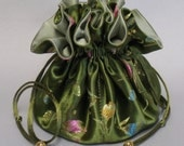 Jewelry Tote---Drawstring Travel Organizer---Floral Garden Satin Brocade ----Large Size