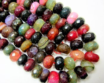 18 Dragon vein agate beads 14mm x 10mm faceted agate gemstone beads jewelry making supplies assorted color rondelle beads (18B-(K6)