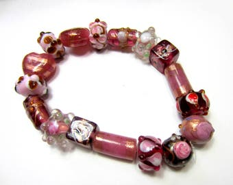 17 Lampwork Glass beads destash lot raspberry blackberry pink beads gothic steampunk jewelry supply (SB3)