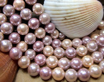 Pearl beads South Sea shell beads multicolor 15' strand 8mm pearls rose pink pale mauve round pearl beads HPP005 (M4)