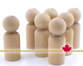 """Wood Peg Doll - 25pc - 2 1/4"""" tall Man - Unfinished Natural Wooden Person #LP200 - Wedding Party Cake Topper Groom - Waldorf People Crafts"""