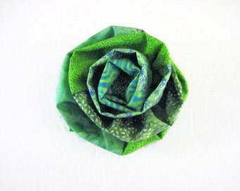 Flower Brooch Green Fabric Prints