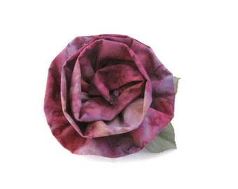 Mauve Pink Batik Fabric Flower Brooch Pin Mother Day Gifts