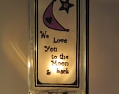 For Renee / Nursery Lamp glass block upcycled handmade I Love You to the Moon and Back night light purple nursery for baby FREE SHIPPING