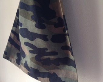 Medium drawstring camouflage bag, cotton bag, treasure bag, accessory  bag, boys toy bag, charger bag, Handmade in Australia