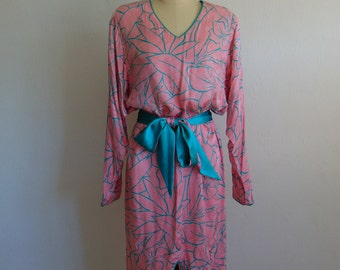 80s silk FLORA KUNG shift dress size medium