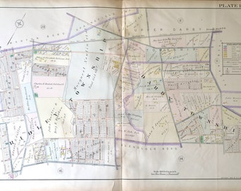 Original 1910 Delaware County Atlas map of Ridley Township and Darby Township