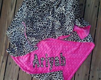 Cheetah Minky Baby Blanket,Hot Pink Minky,Personalized Baby Blanket,Baby Girl