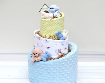 Puppy Dog Shower, Puppy Baby Gift, Puppy Baby Shower, Puppy Diaper Cake, Blue Puppy Shower, Boys Diaper Cake, Baby Shower Centerpiece