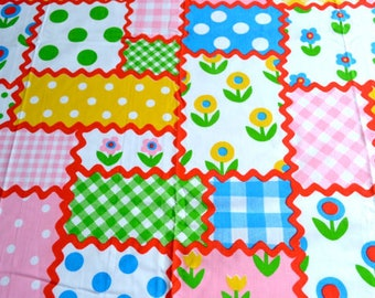 Vintage Bed Sheet - Ric Rac Patch Perma Prest - Queen Flat NOS