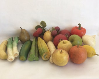 Vintage Lot of Rubber and Plastic Fruit and Vegetables